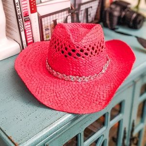 New Red & Iridescent Silver Cowgirl Hat